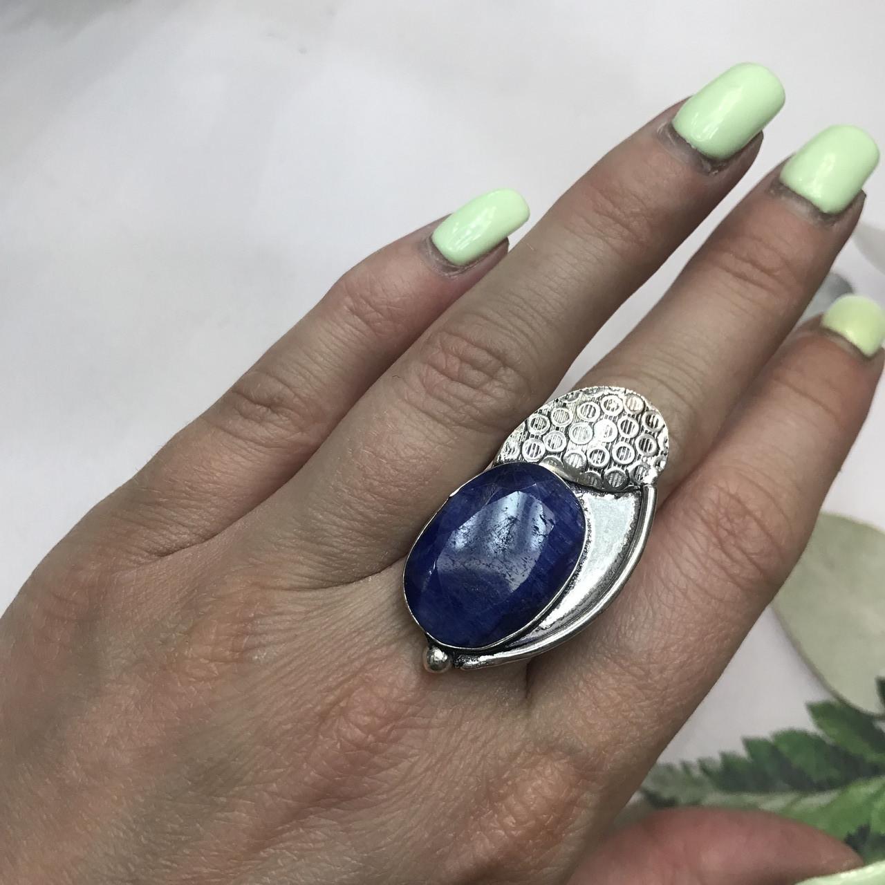 Сапфир кольцо 16,5 размер кольцо с камнем индийский сапфир в серебре кольцо с сапфиром.