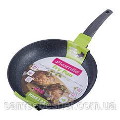 Сковорода Kamille 24см з антипригарним покриттям Black marble з алюмінію для індукції