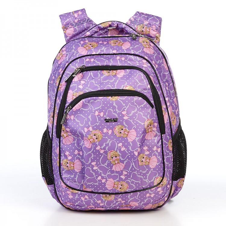 Детский школьный рюкзак с ортопедической спинкой и принтом куклы Dolly 541 30*39*21 см