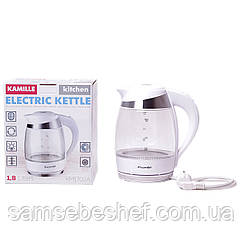 Чайник электрический Kamille 1.8л с синей LED подсветкой и стальными декоративными вставками KM-1702A