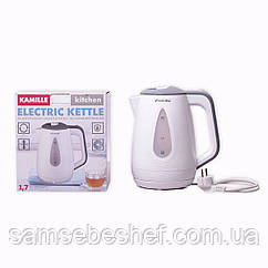Чайник электрический Kamille 1.7л пластиковый (белый с серым) KM-1716A