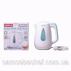 Чайник электрический Kamille 1.7л пластиковый (белый с голубым) KM-1716B