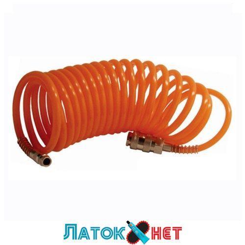 Шланг воздушный ПВХ спиральный с быстроразъемным соединением 6х8мм 15м PT-1702 Intertool