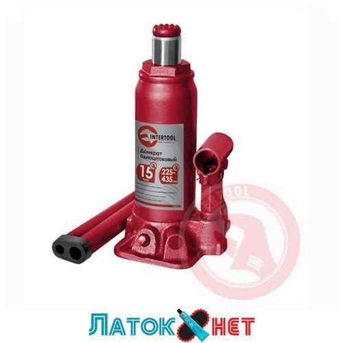 Домкрат бутылочный 15т GT0027 Intertool одноштоковый