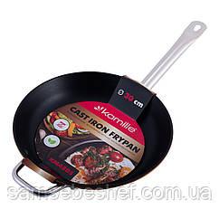 Сковорода чавунна 30см без кришки для індукції