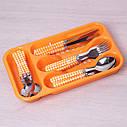 Набор столовых приборов Kamille Фиолетовый 24 предмета из нержавеющей стали с пластиковыми ручками и, фото 4