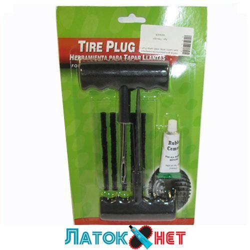 Набори для ремонту безкамерних шин (шило, голка, клей, 5 чорних шнурів) Tire plug kit