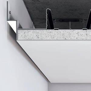 Белый алюминиевый профиль теневого шва (усиленный) 12 мм для парящего потолка с подсветкой