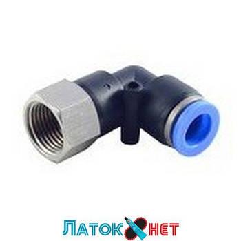 Фитинг угловой для пластиковых трубок 6 мм с внутренней резьбой 1/8 RF-SPLF06-01 Rock Force