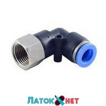 Фитинг угловой для пластиковых трубок 8 мм с внутренней резьбой 1/2 RF-SPLF08-04 Rock Force