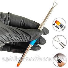 Двостороння кисть овал - рейзер для зняття гель-лаку, ручка - ковпачок №6
