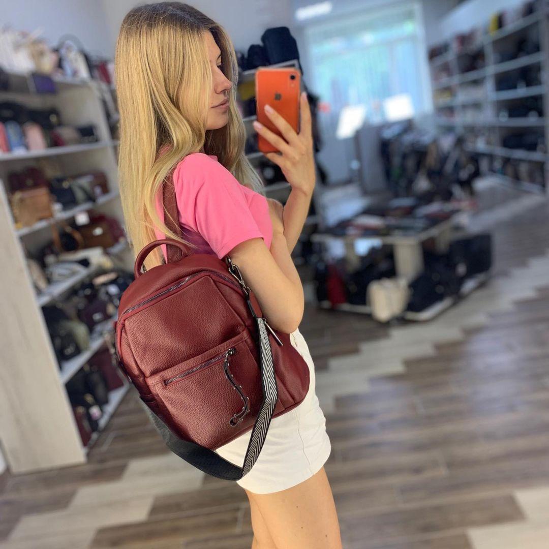 Вместительный рюкзак + широкий тканевый ремешок на плечо / натуральная кожа (2815) Красный