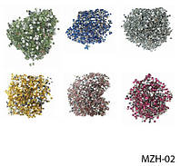 Круглые цветные стразы на планшете (24 пакетика) Lady Victory LDV MZH-02 /06-2