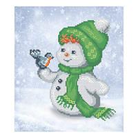 """Схема для вышивки бисером """"Снеговик и снегирь"""""""