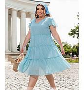 / Розмір 50,52,54,56,58,60 / Жіноче універсальне легке плаття А-силуету / 8638-1-Блакитний, фото 3