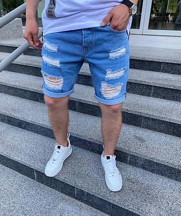 Мужские джинсовые шорты МОМ голубого цвета рваные, фото 2