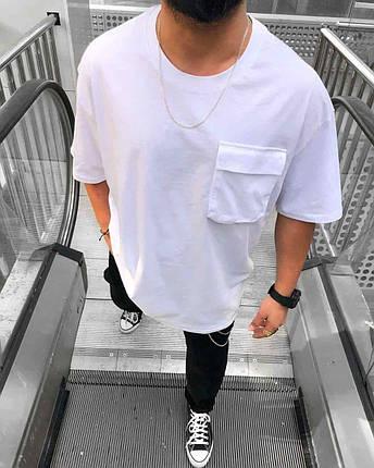 Мужская футболка белого цвета однотонная, фото 2