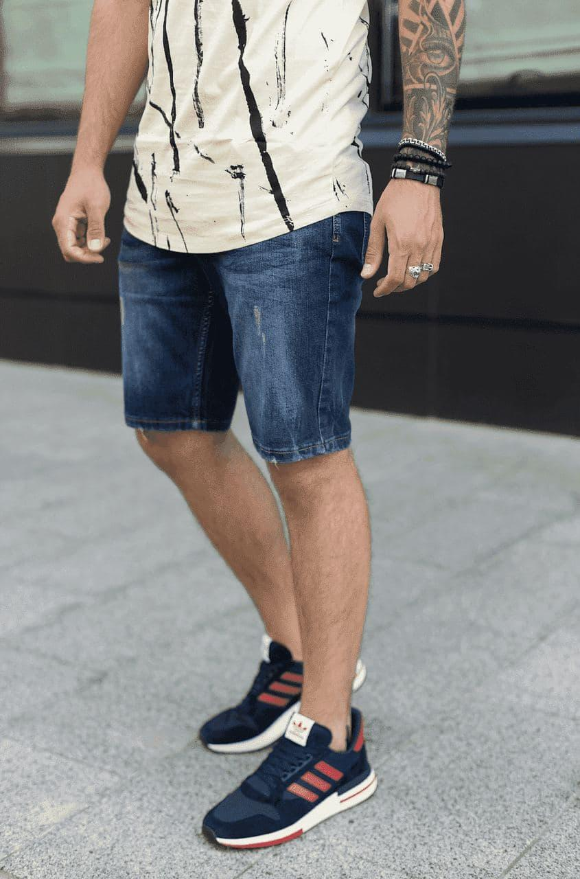 Мужские джинсовые шорты МОМ темно-синего цвета