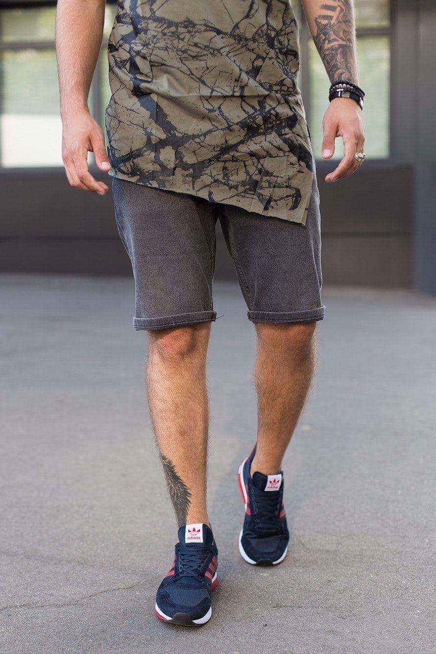 Мужские джинсовые шорты МОМ темно-серого цвета