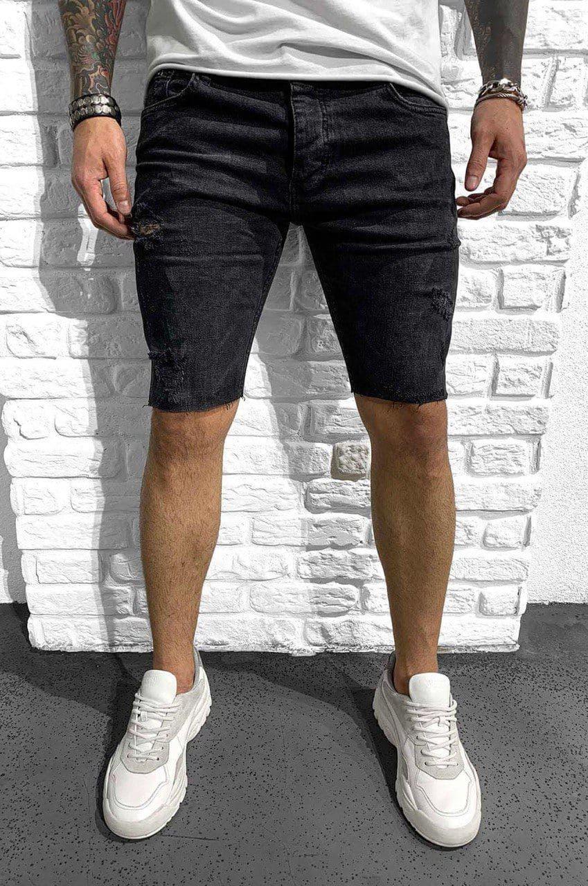 Чоловічі джинсові шорти МОМ чорного кольору