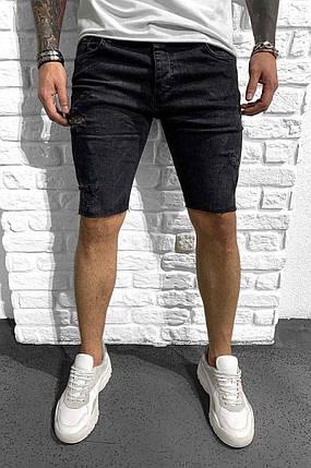 Чоловічі джинсові шорти МОМ чорного кольору, фото 2