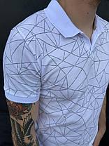 Мужская футболка-поло белого цвета с геометрическим узором, фото 2