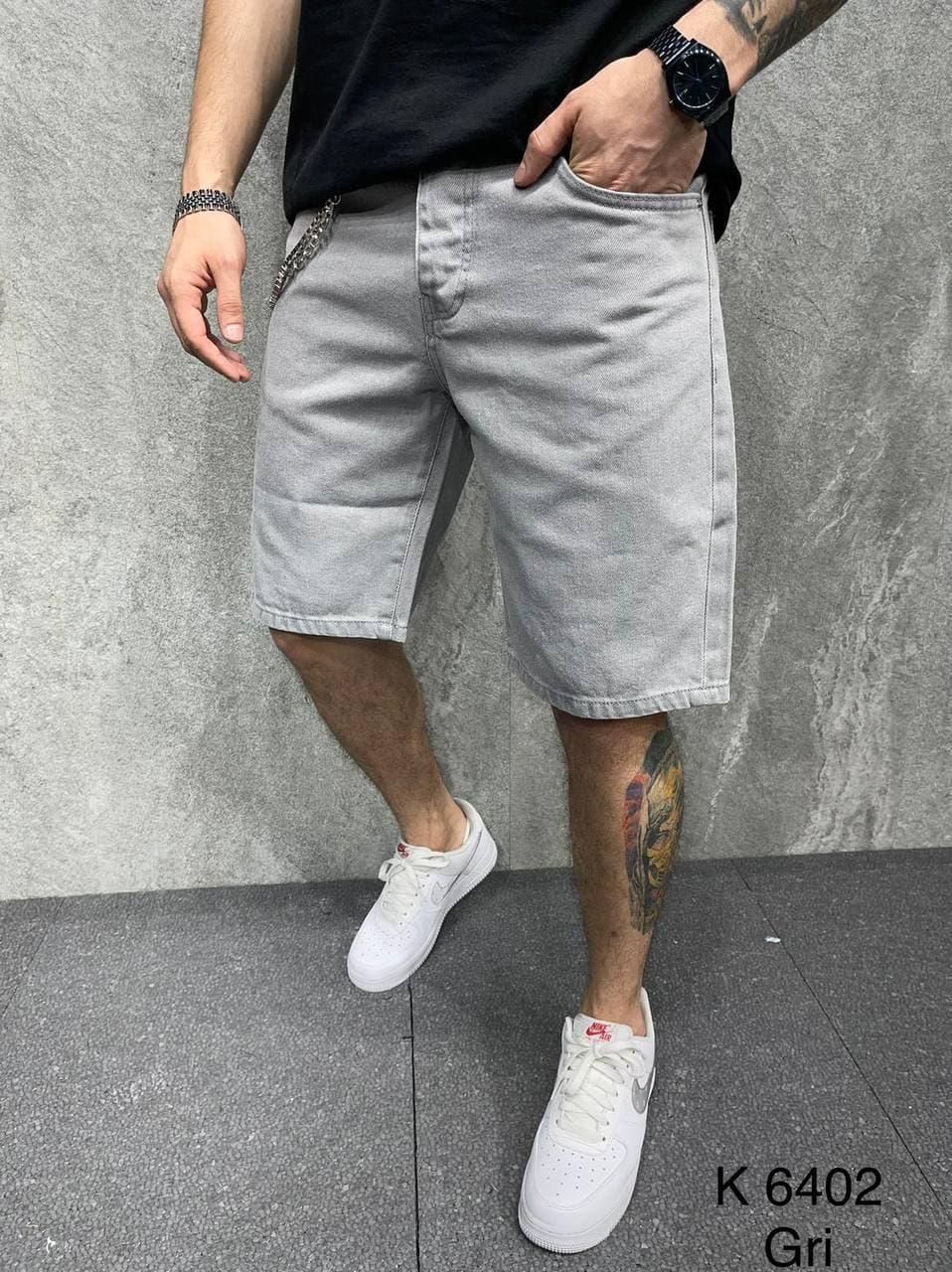 Мужские джинсовые шорты светло-серого цвета