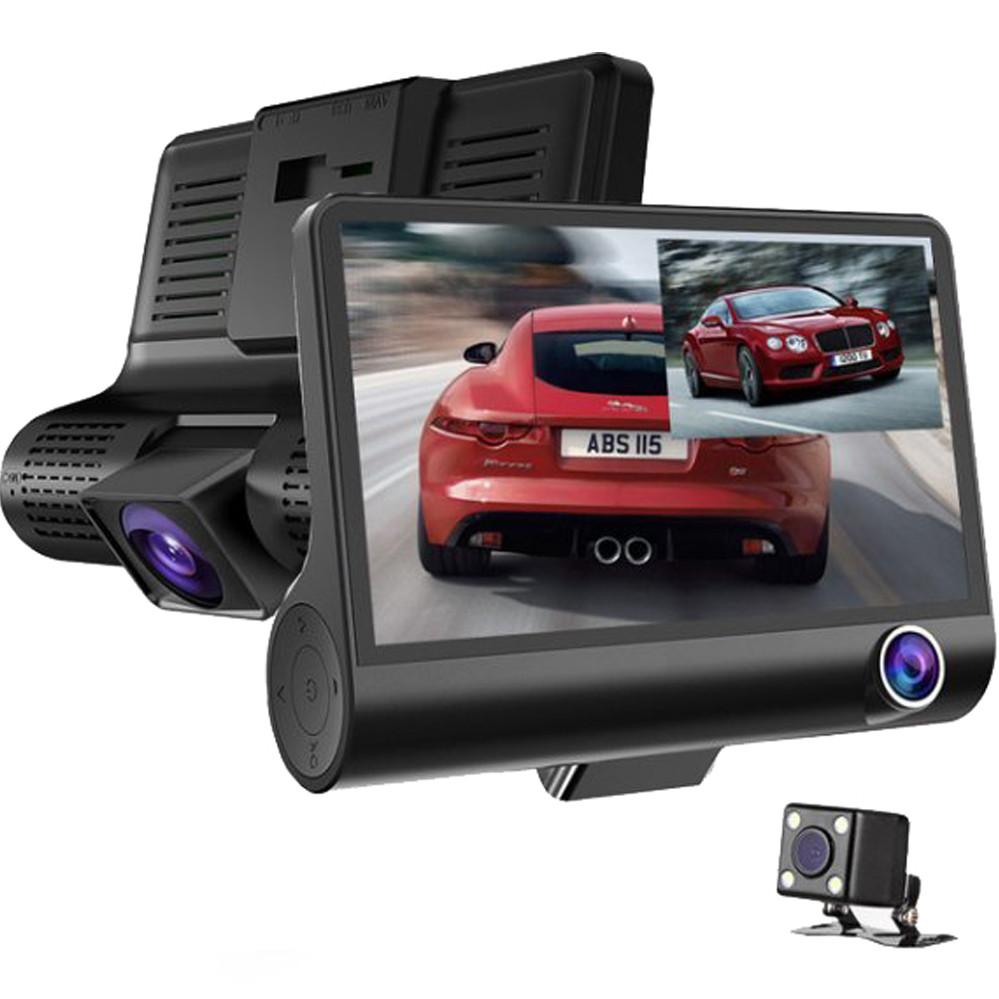 Видеорегистратор автомобильный на 3 камеры + Видео парковка регистратор с 4-дюймoвым экраном и съемкой салона