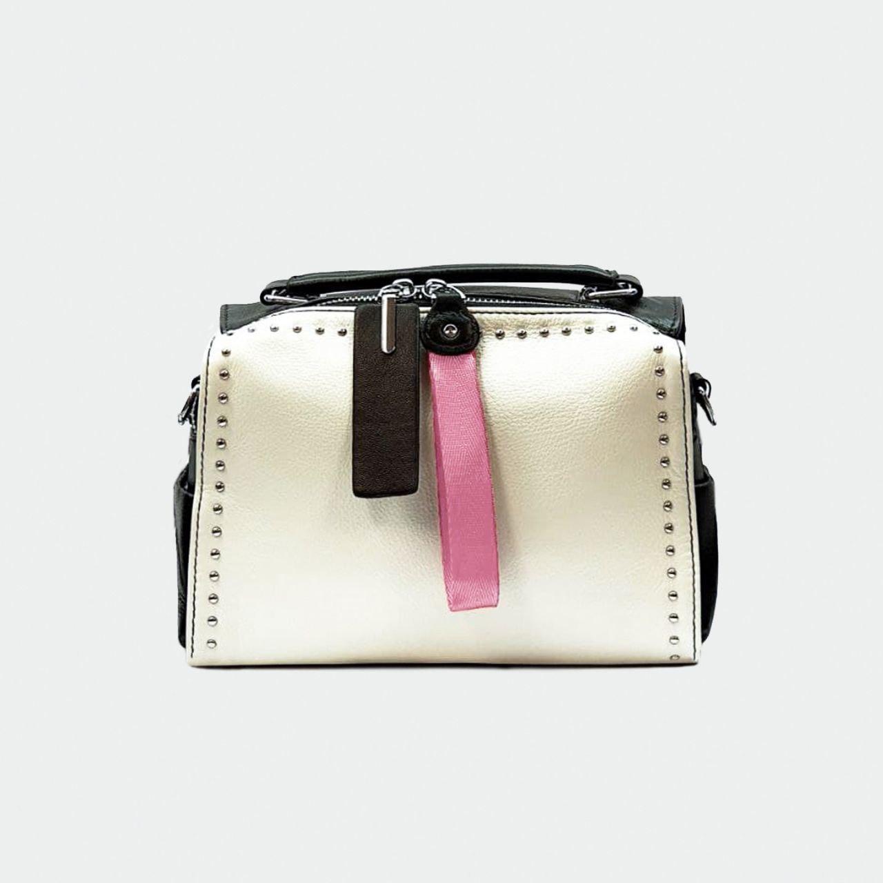 Модная женская маленькая кожаная сумка бело-черная 8809