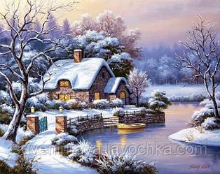 """Набор для вышивания крестиком """" Зимний пейзаж. Домик у озера"""" 50х40 см"""
