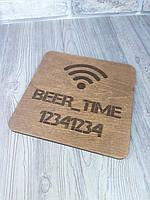 Интерьерная деревянная табличка 25*25см с гравировкой, интерьерная вывеска