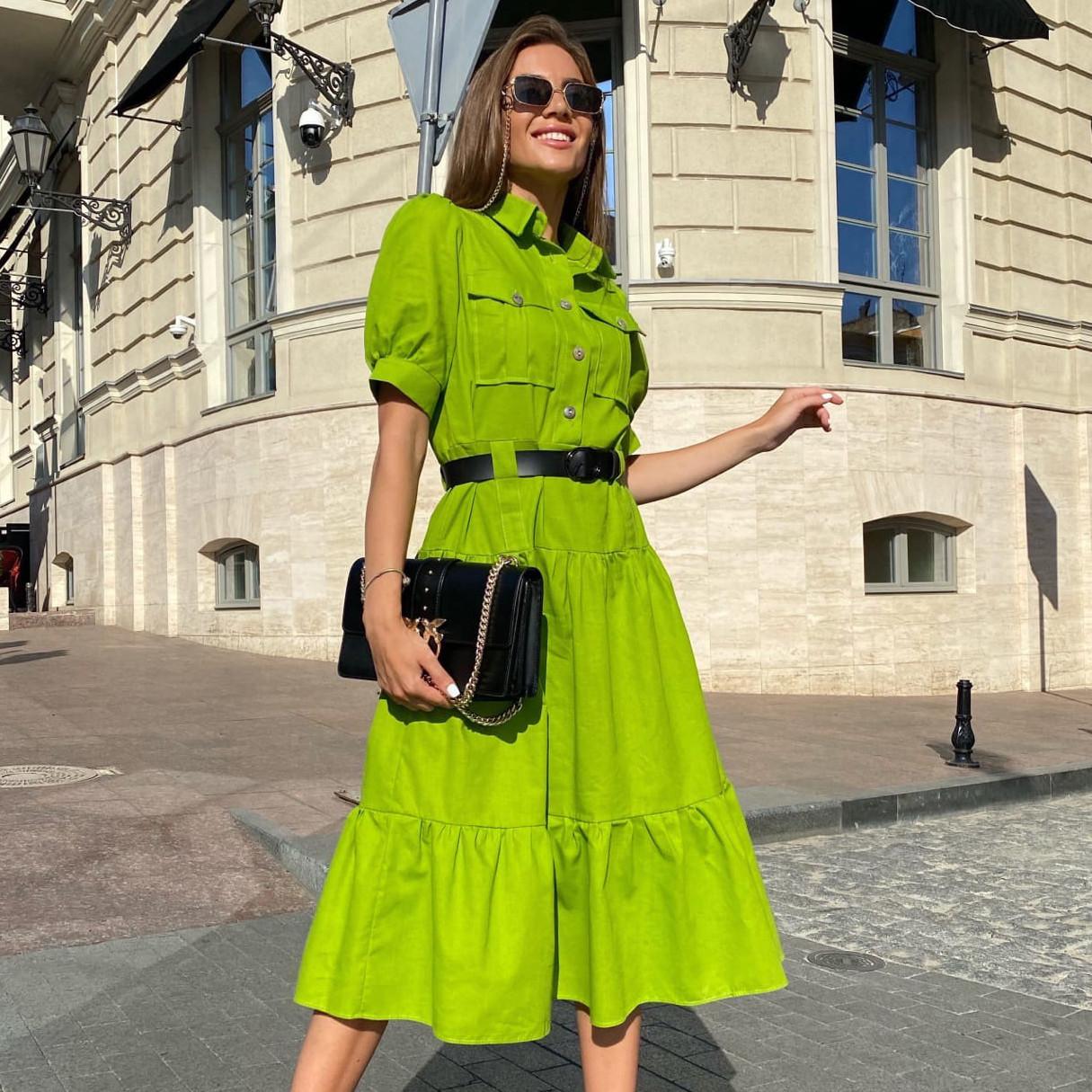 Женское льняное платье-рубашка длины миди