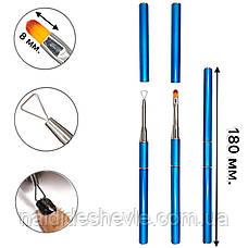 Двусторонняя овальная кисть - лопатка для снятия гель-лака, ручка - колпачок №6, фото 2