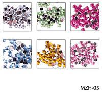 Цветные стразы «квадратики» на планшете  (24 пакетика) Lady Victory LDV MZH-05 /37-2