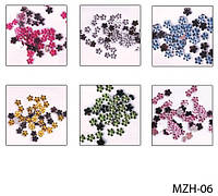 Цветные стразы «цветочки» на планшете (24 пакетика) Lady Victory LDV MZH-06 /37-2
