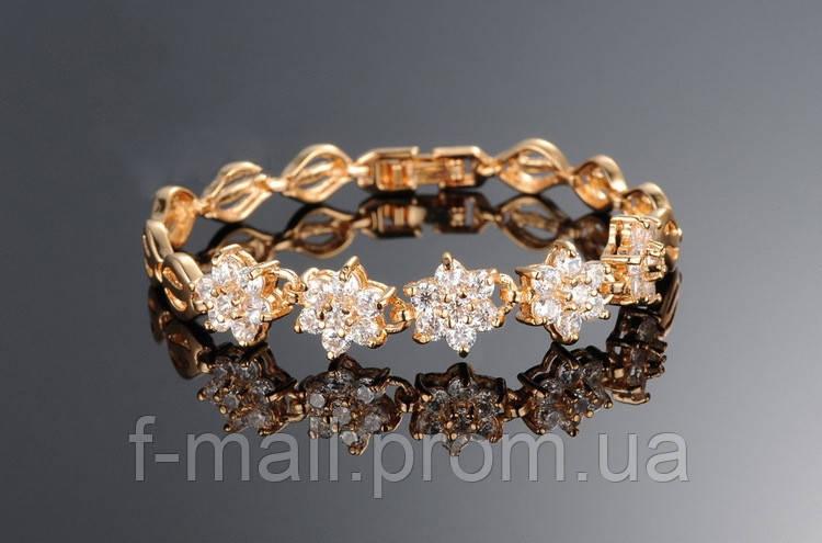 Браслет з цирконами. Покриття 18-каратне золото.
