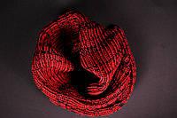 Теплый черно-красный шарф