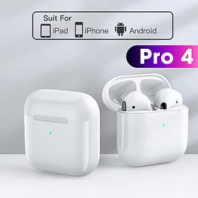 Беспроводные наушники Air Pro 4 Белые в стиле Apple AirPods сенсорные с кейсом + чехол