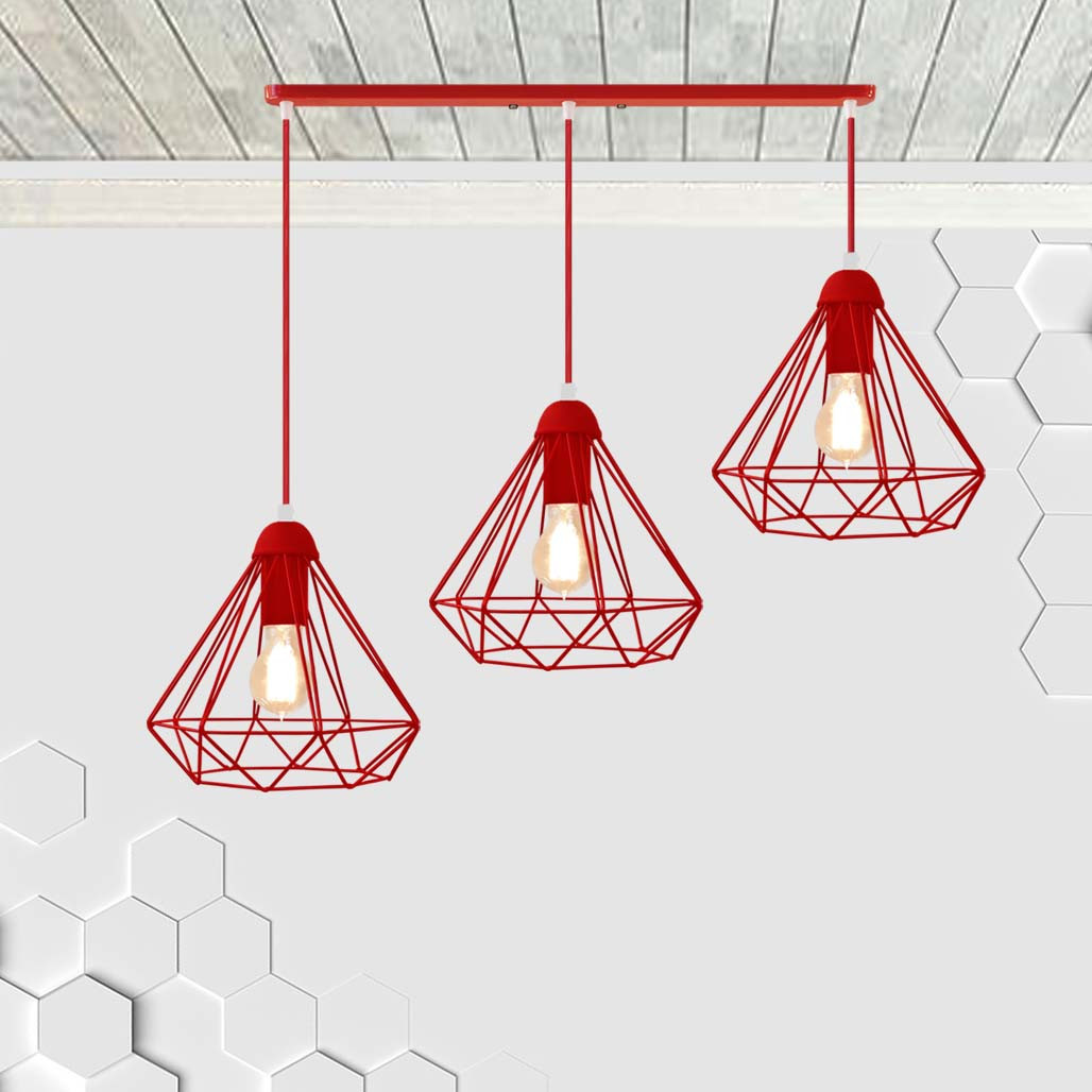 Подвесная люстра на 3-лампы DIAMOND-3 E27 красный