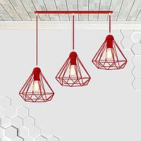 Подвесная люстра на 3-лампы DIAMOND-3 E27 красный, фото 1