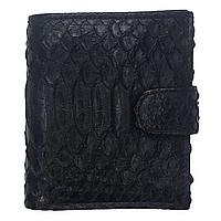 Мужской кошелек портмоне из натуральной кожи питона, цвет черный