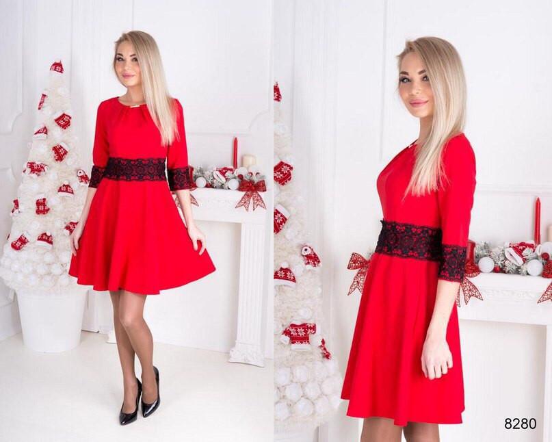 Красивое вечернее платье с расклешенной юбкой, материал дайвинг и кружево,  красное - Модный гардероб 25cdffeeb23