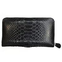 Универсальный клатч портмоне из натуральной кожи питона, цвет черный