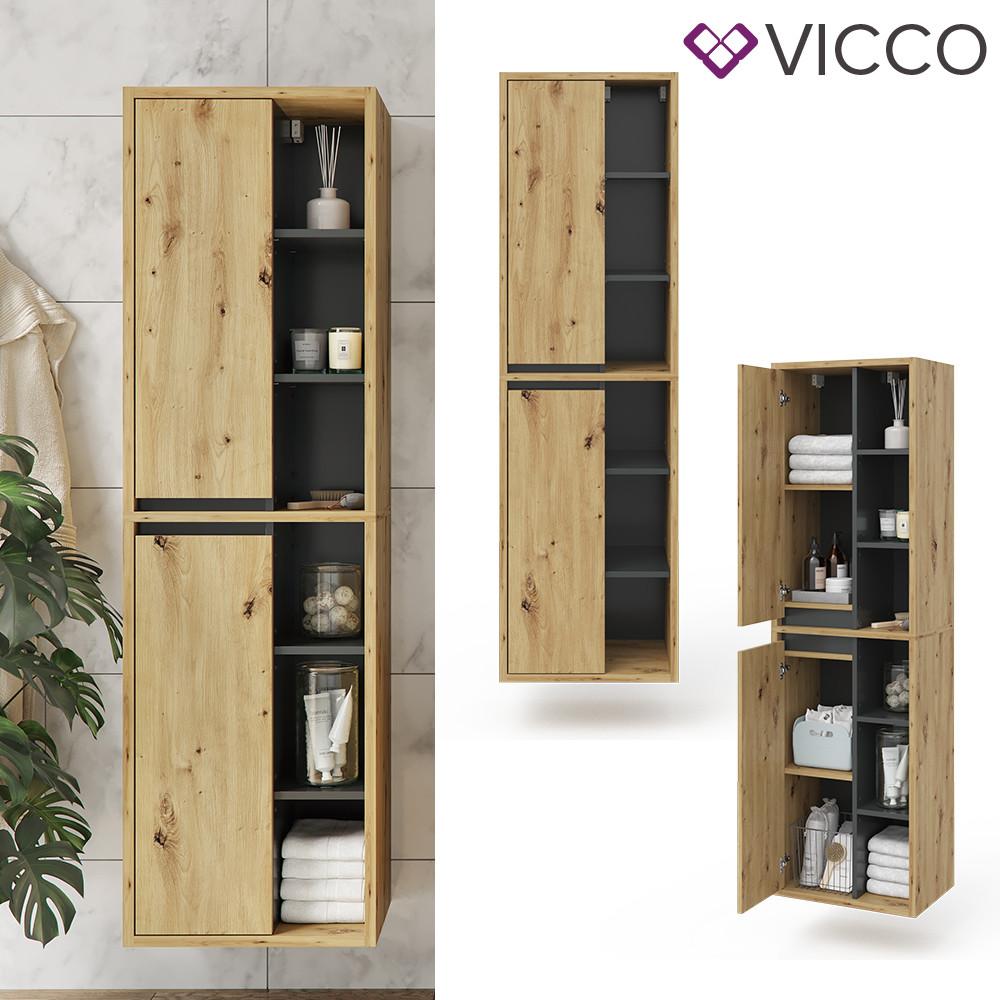 Навісний пенал для ванної Vicco Viola, дуб, антрацит