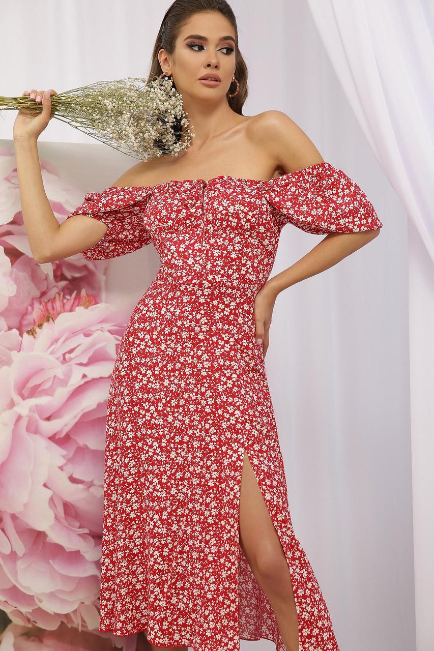Платье летнее из штапеля в цветочный принт  Билла к/р