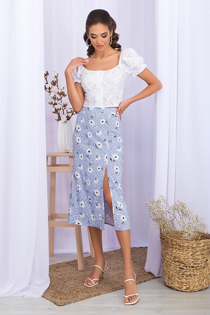 Юбка  летняя льняная с разрезом в цветы мод. №53