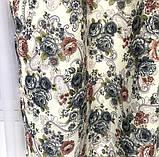 Плотные атласные шторы в цветы на тесьме 150х270 см Качественные шторы Цвет Молочный, фото 2