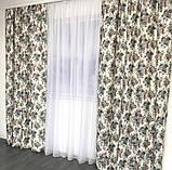 Плотные атласные шторы в цветы на тесьме 150х270 см Качественные шторы Цвет Молочный, фото 4