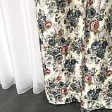 Плотные атласные шторы в цветы на тесьме 150х270 см Качественные шторы Цвет Молочный, фото 5