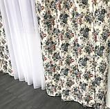 Плотные атласные шторы в цветы на тесьме 150х270 см Качественные шторы Цвет Молочный, фото 6